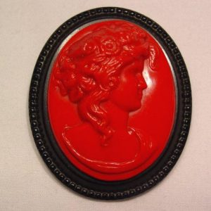 Vintage Red and Black Plastic Cameo Pin
