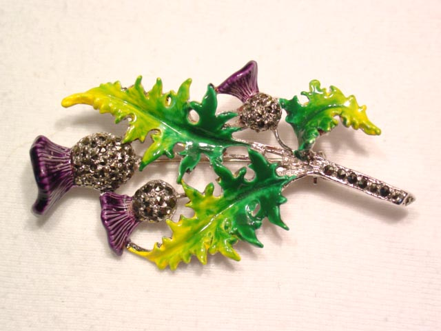 Beautiful Enameled and Marcasite Thistle Pin