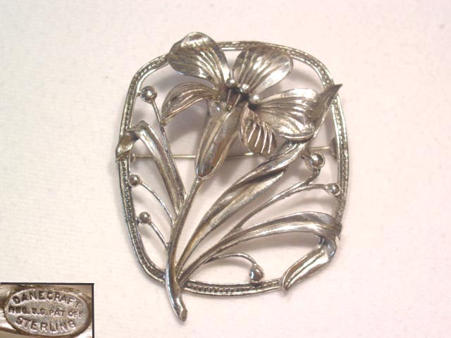 Sterling Danecraft Flower in Rectangle Pin