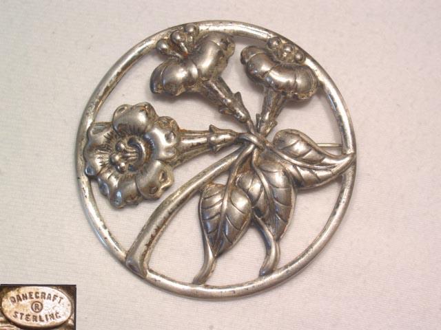 Sterling Danecraft Round Floral Pin