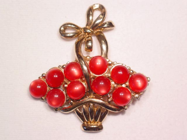 Red Moonglow Basket Pin