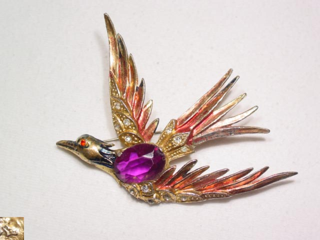 Soaring Enamel and Rhinestone Bird Pin