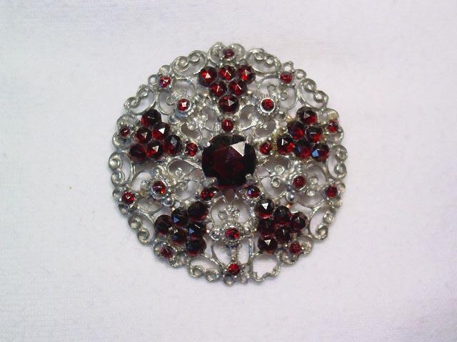 Unusual Garnet Filigree Pin