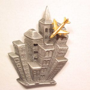 AJC Skyscrapers and Airplane Trembler Pin