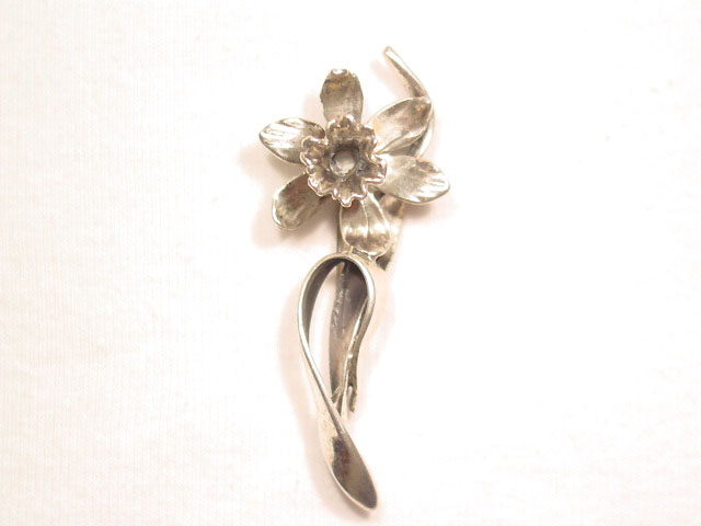 Stylized Sterling Orchid Pin