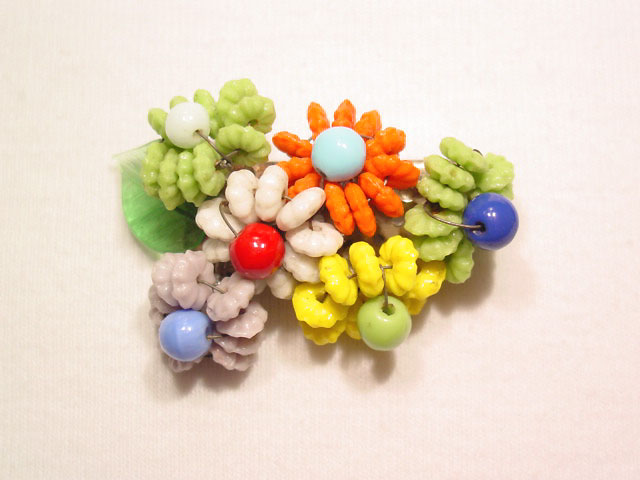 Bright Glass Bead Floral Pin