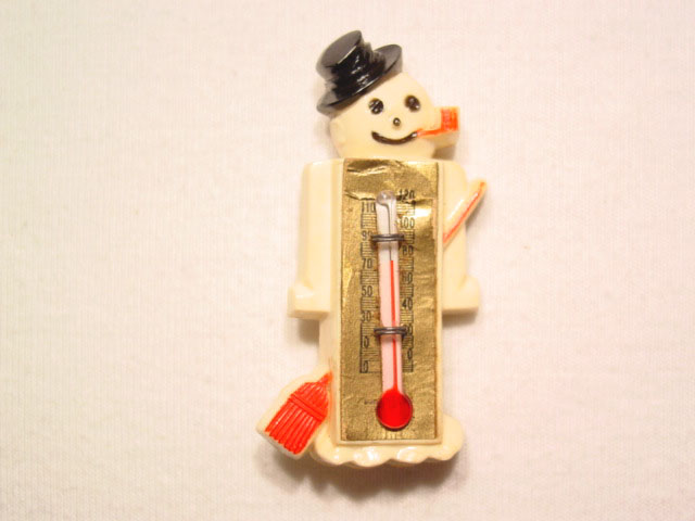 Old Plastic Snowman Thermometer Pin