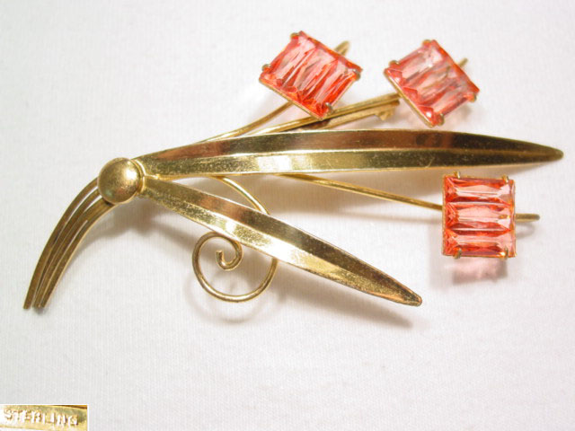 Gold Over Sterling Floral Pin with Square Pink Stones