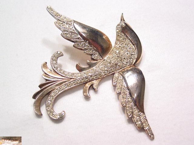 Heavy Sterling and Rhinestone Bird In Flight Pin