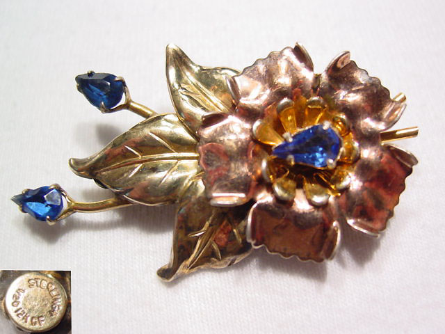 Two-Tone Gold Over Sterling Flower with Blue Rhinestones Pin