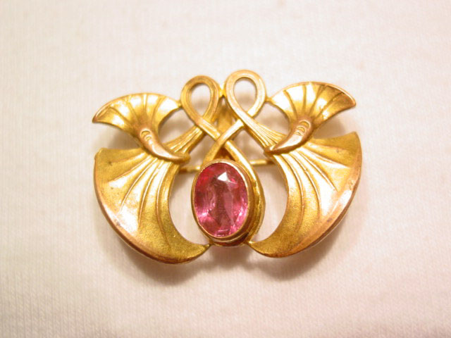 Art Nouveau Goldtone and Pink Stone Watch Pin
