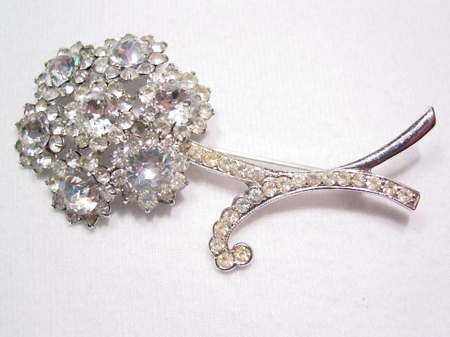 Dazzling Rhinestone Floral Sterling Pin