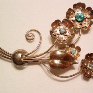 Huge Gold-Washed Sterling Floral Rhinestone Pin