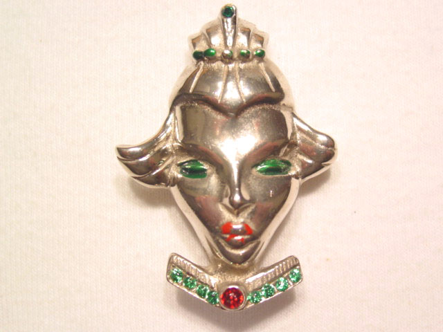 Unusual Silvertone Oriental Face Pin