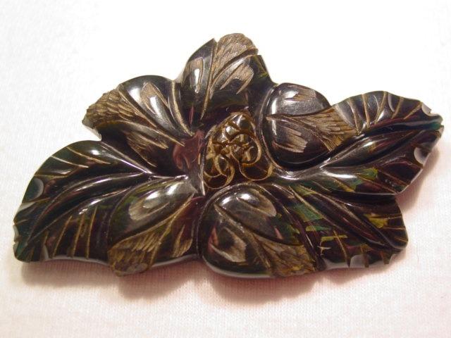 Beautiful Carved Dark Blue Bakelite Flower Pin