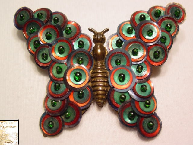 Sequined Czechoslovakia Butterfly Pin