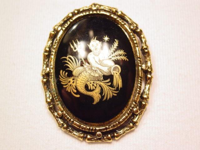 Aquarius Black Cabochon Pin