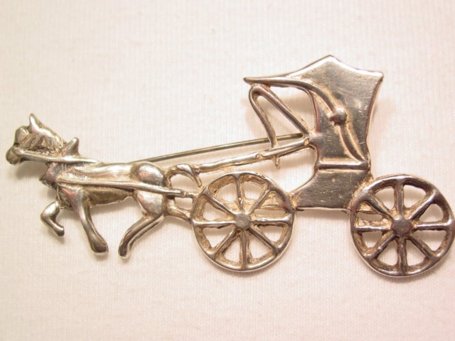 Horse and Carriage Sterling Pin