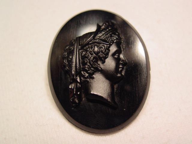 Black on Black Glass Roman Cameo Pin