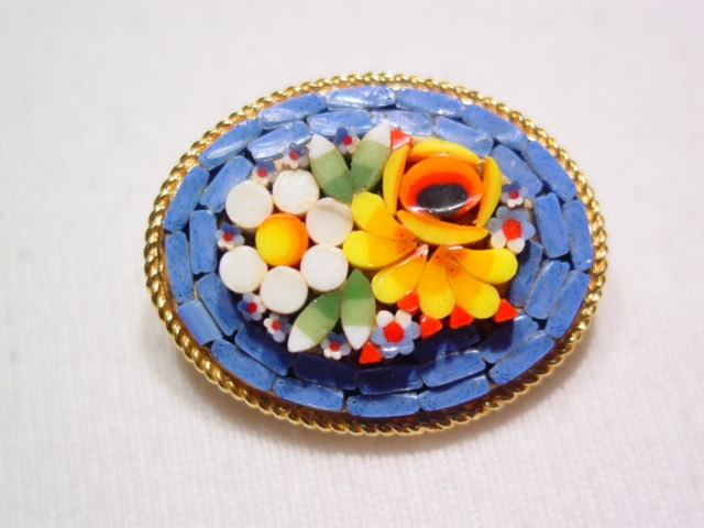 Blue Floral Mosaic Pin