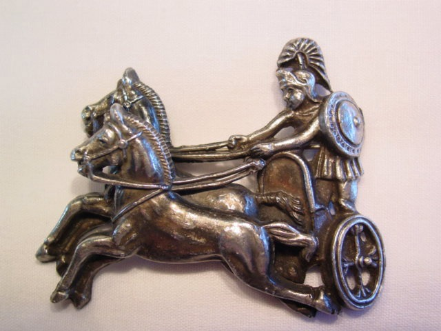 Roman Soldier, Chariot, and Horses Pin