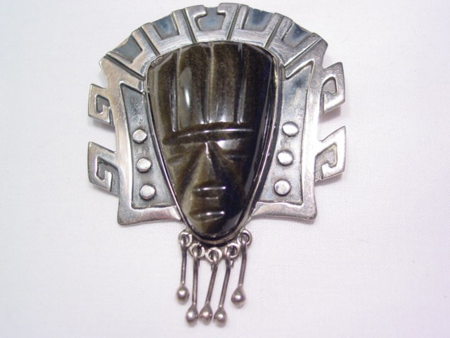 Sterling F. Torres Large Carved Tribal Face Pin/Pendant