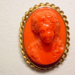 Large Coral Colored Plastic Cameo Pin
