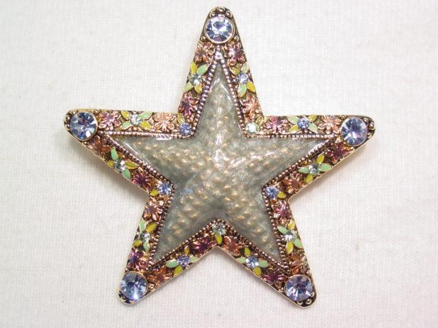 Enamel and Baby Blue Rhinestone Star Pin