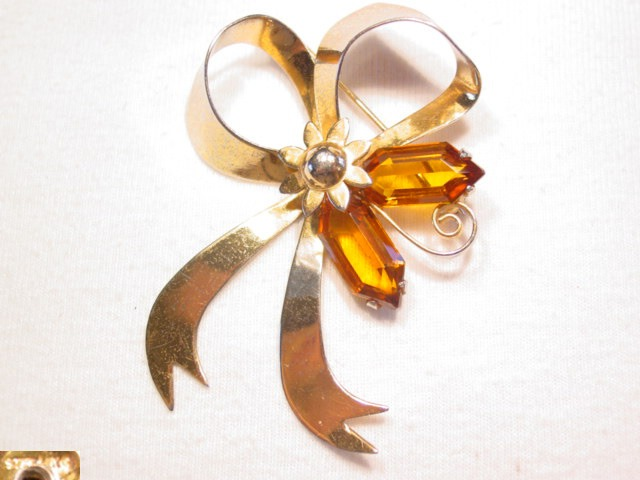 Sterling Ribbon and Topaz Rhinestone Pin