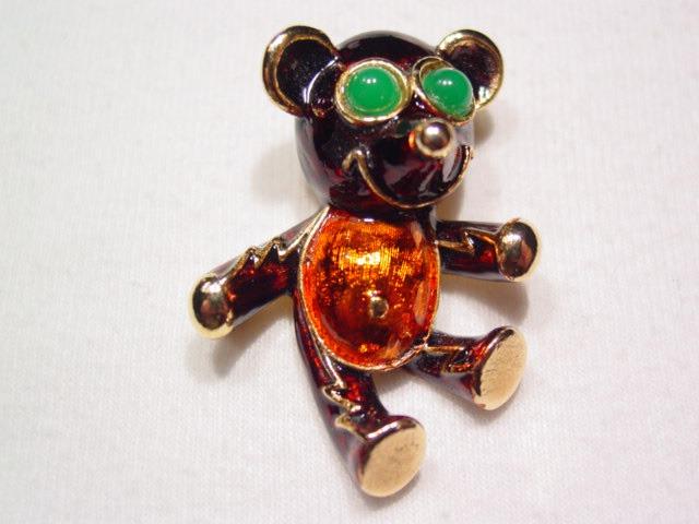 Dark Red Enameled Green-Eyed Teddy Bear Pin