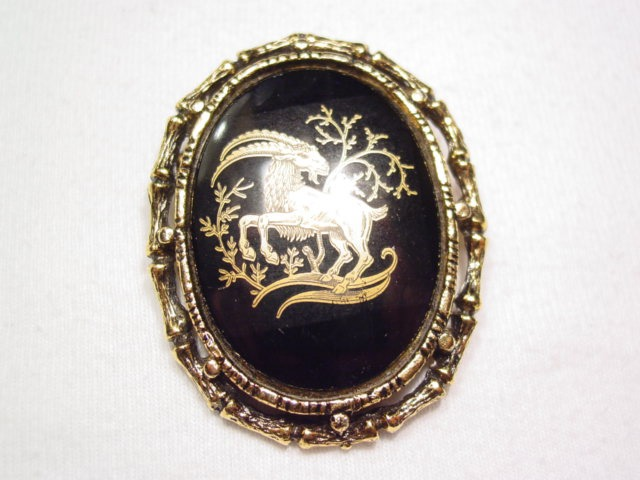 Capricorn Black Cabochon Pin