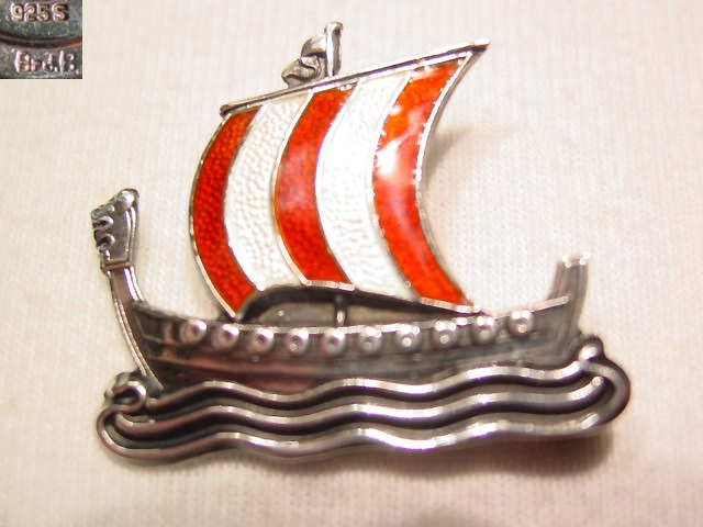 Brd.B Sterling and Enamel Viking Ship Pin