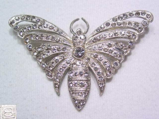 Bright Rhinestone Pot Metal Butterfly Pin
