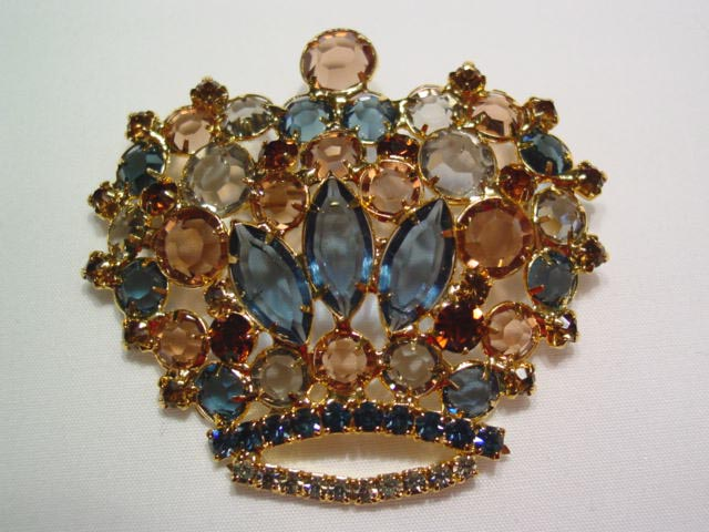 Beautiful Brown and Sapphire Blue Rhinestone Crown Pin