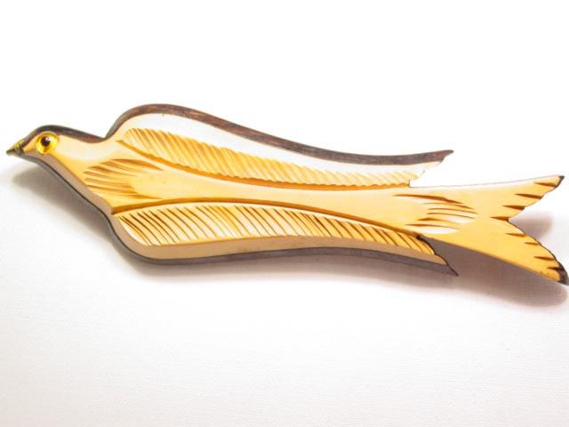 Bakelite on Wood Bird in Flight Pin