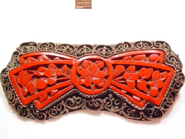 Cinnabar Copper Bow Pin