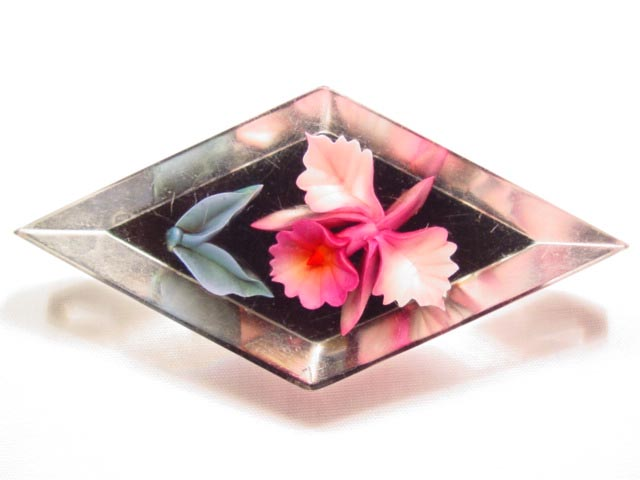 Diamond Shaped Lucite Orchid Pin