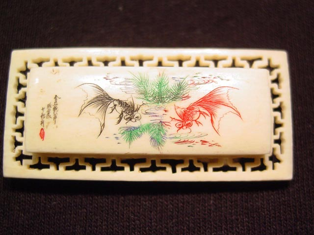 Beautiful Ivory Scrimshaw Fish Pin
