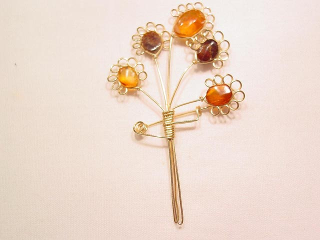 Amber and Gold Wire Bouquet Pin