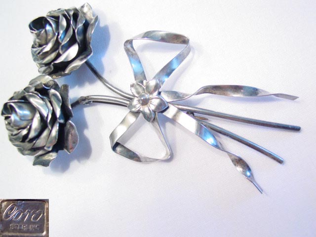 Huge Double Rose Sterling Coro Pin