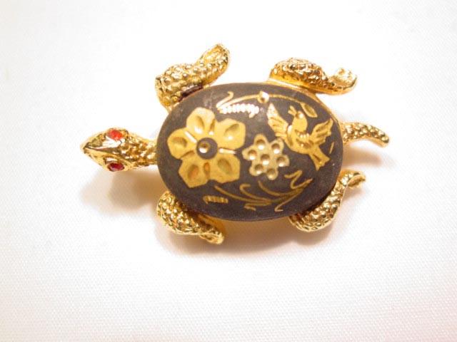 Damascene Turtle Pin