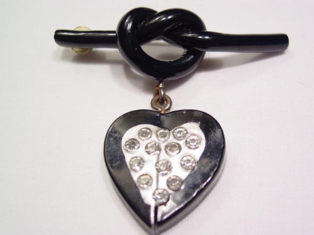 Black Love Knot and Heart Pin