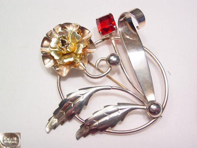 Sterling EnZell Flower Pin