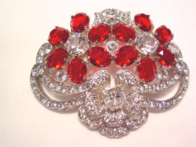 Vibrant Red and Clear Rhinestone Flowers Pin