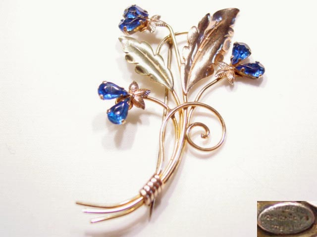Beautiful Blue Rhinestone Sterling and Gold-Filled Floral Van Dell Pin