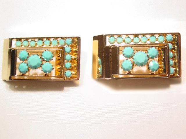 Turquoise-Colored Rhinestone Rectangle Pins