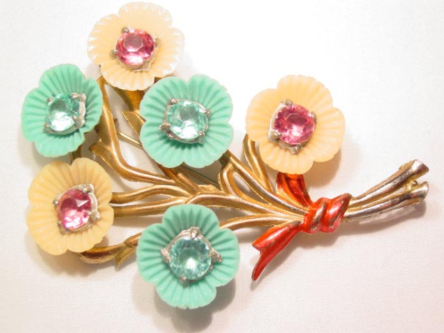 Large Aqua and Pink Floral Pot Metal Branch Pin