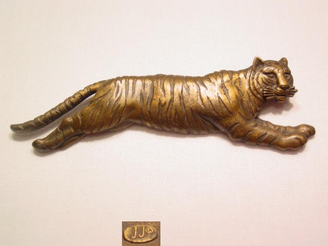 Antiqued J.J. Goldtone Running Tiger Pin