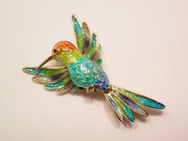 Vibrant Sterling and Enameled Hummingbird