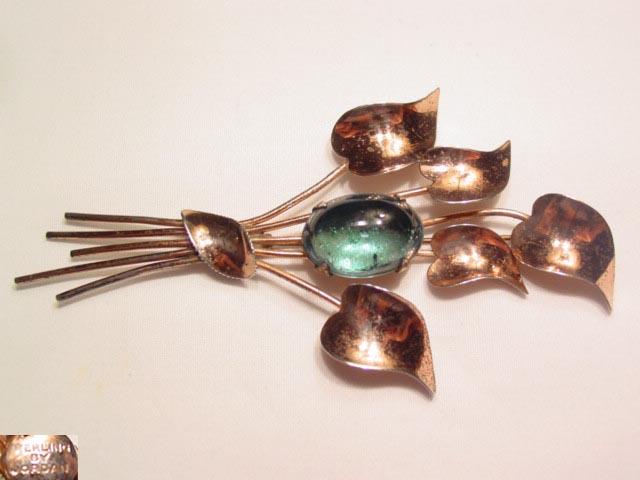 Sterling Heart-Shaped Leaf Floral Pin by Jordan